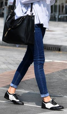oxfords, cuffed denim, oversized chambray shirt, leather tote
