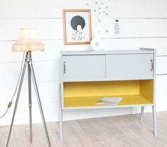 Petite commode années 50 60 gris jaune Trendy Little 1