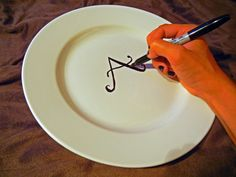 DIY Sharpie Plates -- Bake your plates in the oven at 350 degrees for 30 minutes to make your designs permanent
