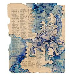 Watercolor art print, blue abstract map art on book page, Colonization: Index Straits
