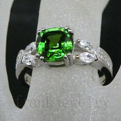 White Gold Natural Diamond Tsavorite  Engagement Ring!!!