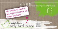 Cover unseres 10€ Gutscheines, natürlich erhältlich in unserem onlineshop www.earlybirdlounge.com
