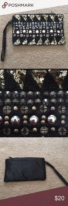 Poppie Jones Black Beaded Wristlet Used once for a wedding in excellent condition. Poppie Jones Bags Clutches & Wristlets
