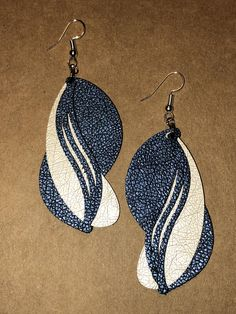 Excited to share the latest addition to our #etsy shop: Blue leather earrings. http://etsy.me/2nXwJb6 #jewelry #earrings #blue #leatherearrings #earwire #fauxleather #unique #white