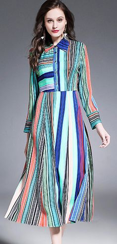 Fashion Turn Down Collar Long Sleeve Striped A-Line Dress