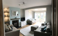Mint macaroon and pebble shore dulux living room Duck Egg Living Room, Teal Living Rooms, Living Room White, Paint Colors For Living Room, Room Colors, Living Area, Teal Master Bedroom, Dining Room Design, New Homes
