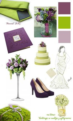 Purple and lime green.