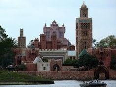 When Disney designed the Tower Of Terror ride at Hollywood Studios they made the facade a certain style to blend in with a Moroccan themed land at EPCOT