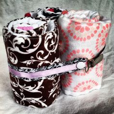 Embellished burp cloths with pacifier clip