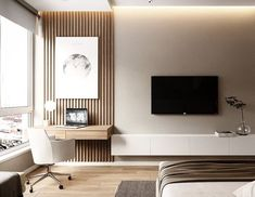 // s u i t e l i f e Modern Bedroom, Bedroom Wallpaper Modern, Bedroom Desk, Tv Unit Bedroom, Master Bedroom Design, Home Bedroom, Apartment Interior, Apartment Design, Home Deco