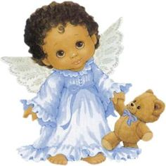 Black Baby Angel with Teddy Bear