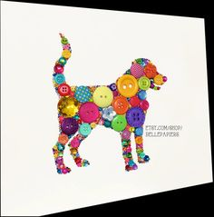 8x10 Choose your own color/s Dog Art Button Art Swarovski Rhinestones Icon Custom Wall Art