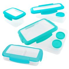 Keeplit Keep& Go Food Storage Container Assorted Pack in Aqua - The Home Depot Healthy School Snacks, Healthy Kids, Healthy Living, Meal Planning Website, Whole Wheat Bagel, Vegetable Sticks, Low Fat Chocolate, Healthy Sandwiches, Fat Burning Drinks
