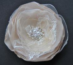 Bridal hair flower, bridal lace hair clip flower, Ivory Champagne Cream  Colors  with pearls and  rhinestone