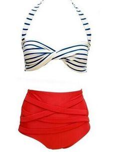 Retro Style Women's Halterneck High-Waisted Striped Bikini Set Color: AS THE PICTURE Size: S, M, L, XL Category: Women > Swimwear   Gender: For Women  Material: Nylon  Bra Style: Padded  Pattern Type: Striped  Swimwear Type: Bikini  Waist: High Waisted  #highwaistedswimsuitshops #highwaistedswimsuit #womenswimsuit # stripedswimsuit #bridgat.com