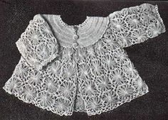 long sleeve baby jacket made fromm loomed flowers...free instructions' this is a vintage pattern.
