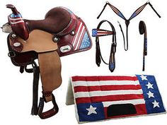 Tahoe Patriotic American Flag 5 Item Western Barrel Saddle Set Close Out Sale