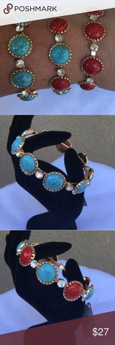 "Set of 3 Blue/Red round faux turquoise bracelet Set of 3 bracelets, 1 blue, 1 blue & red, and 1 red faux turquoise in gold tone bangles with rhinestones- stones are round. Super cute trendy bangles that look great paired with each other or other fun bangles!!! Must have for Spring & Summer! 8"" inner circumference. ✅I ship same or next day ✅Bundle for discount Jewelry Bracelets"