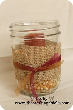 Cute burlap-wrapped mason jar with candle in it ... so many holidays/occasions you could incorporate this into!