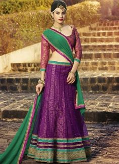 Lively Purple And Green Net Embroidery Patch Border Work  A Line Lehenga Choli http://www.angelnx.com/Lehenga-Choli/Designer-Lehenga-Choli