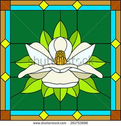 Vector illustration lotus, water lily, magnolia in Stained glass window. Flower enlightenment