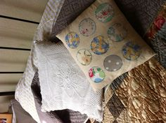 Home-made Crochet and appliqué cushions