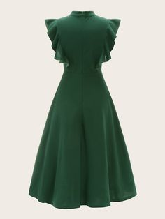 Tie Neck Flutter Sleeve Solid Dress [swdress07190107212] - $38.00 : moonbaye.com