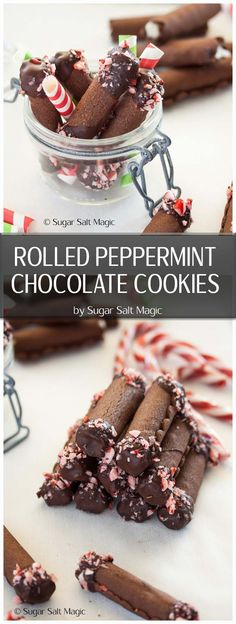 Peppermint cream encased in chocolate cookie makes these Rolled Peppermint Chocolate Christmas Cookies the perfect addition to your Christmas baking list. #christmascookies #peppermint #chocolatecookies via @sugarsaltmagic
