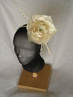 offwhite headpiece with silk handmade rose