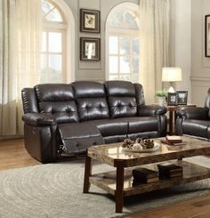 Palco Modern Dark Brown Faux Leather Double Reclining Sofa