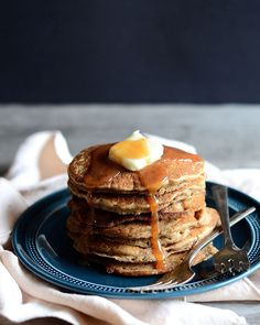 Dirty Chai Espresso Pancakes with Spiced Caramel Sauce. (CW: Could TOTALLY make this gluten free. easy peasy)