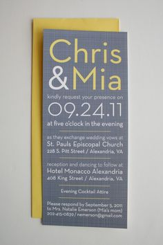 Simple & beautiful grey/yellow wedding invite
