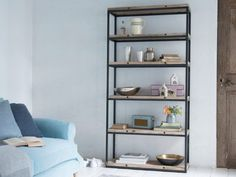Reclaimed timber and vintage gunmetal finish makes the High Five one seriously cool shelving unit that goes brilliantly with our study range. Wooden Storage Shelves, Metal Shelving Units, Reclaimed Wood Shelves, Reclaimed Timber, Wood Shelf, Spray Painting Wood Furniture, Dark Wood Bedroom Furniture, Loaf Furniture, White Wood Kitchens