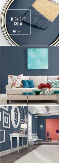 Bedroom living room inspo dark grey blue aqua red colour scheme