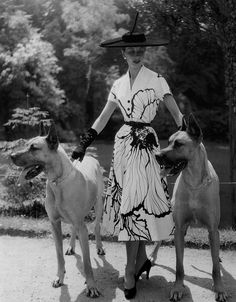 Two hefty sized pups keeping a thoroughly fashionable 1950s gal company. #dogs #1950s #vintage #fashion #dress #gloves #hat
