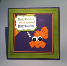 Birthday - The modern label punch for his fins, the retired butterfly punch was used for his tail, the large oval punch is his face, and 2 different sized circle punches were used for his eyes.
