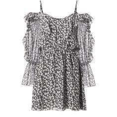 Susanna Cold Shoulder Mini Dress ($298) ❤ liked on Polyvore featuring dresses, print, boho dresses, floral mini dress, ruffle sleeve dress, long sleeve dress and short sleeve dress