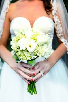 Green hydrangea, white lisanthius bridal bouquet