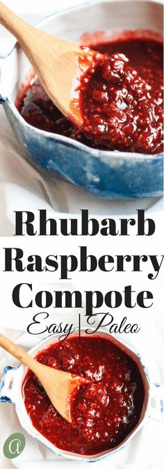 Easy rhubarb raspberry compote, a sweet and tart delight to load on top of yogurt, ice cream, or pancakes. Plus rhubarb has a ton of health benefits! A great source of calcium, vitamin K, and vitamin C. Win Win!