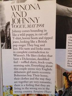 Winona Ryder  and Johnny Depp - Vogue 1991 The ending lines are so beautiful..