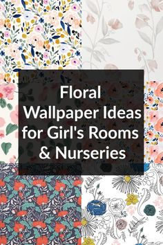 Sharing floral wallpaper ideas for girl's bedrooms and nurseries! Get tons of wallpaper inspiration to help design your girl's room or girl's nursery! Modern Wallpaper, Flower Wallpaper, Of Wallpaper, Wallpaper Ideas, Modern Girls Rooms, Big Girl Rooms, Kids Rooms, Girl Nursery, Girls Bedroom