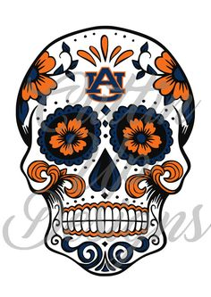 Auburn University Sugar Skull Day of the Dead SVG File for Cricut Cameo (Designer Edition required) Easy Cut. Easy Layer. Football War Eagle by CuttinUpGifts on Etsy