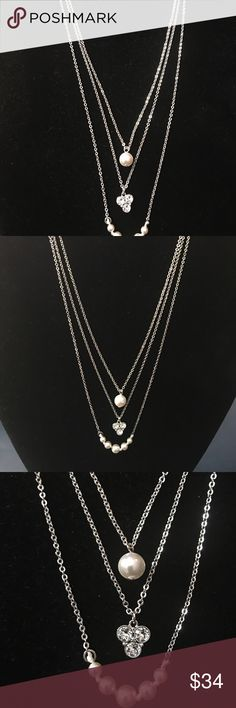 "Touchstone Crystal Maddie Necklace HALF OFF!! Layered Crystal and white Crystal pearls are a fresh twist on a jewelry trend. 15""-18"" on the first strand. Touchstone Crystal by Swarovski Jewelry Necklaces"