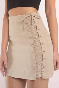 Trendy Ideas For Summer Outfits : Alyssa Lace Up Skirt - Fashion Inspire Cute Skirt Outfits, Basic Outfits, Cute Skirts, Teen Fashion Outfits, Women's Skirts, Outfit Elegantes, Lace Up Skirt, Beige Skirt, Spring Outfits