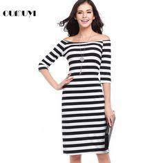 850295ad4e6 OUMUYI Women Clothing Summer Fashion Sexy Off Shoulder Striped Bodycon  Short Office Pencil Dress Vestidos De