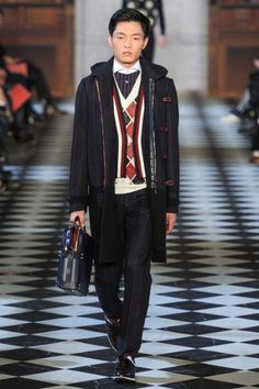 "c/o The Fashionlisto: ""Following prep-bred students of the east coast, the fall/winter 2013 collection brushes up on sportswear fundamentals with a modern twist in construction."" #tommyfall13 #nyfw #menswear"