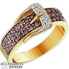 Ladies 14K Yellow Gold Brown Diamond Belt Buckle Accessory Style Ring