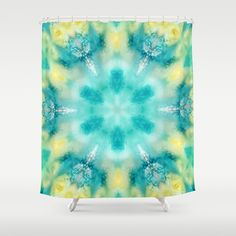 watercolor tie dye #ShowerCurtain by Sylvia Cook Photography - $68.00 #homedecor #bath #colorful #abstract #aqua #turquoise #yellow
