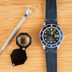 Try a leather twist on the classic Submariner | Rolex Submariner | Bob's Watches | #Rolex #Submariner #leather #BobsWatches