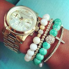 Michael Kors watch and stacked bracelets Women Accessories, Jewelry Accessories, Fashion Accessories, Turquoise Accessories, Mint Gold, Mint Green, Layered Bracelets, Cross Bracelets, Cross Jewelry